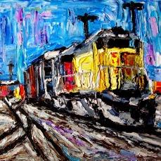 """Train San Jose"" Oil on canvas"
