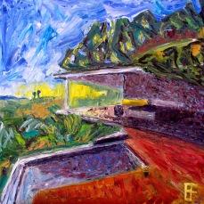 """Hollywood Hills House"" Oil on canvas"