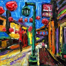 """""""Los Angeles Chinatown Alley"""" Oil on canvas"""