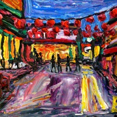 """""""Los Angeles Chinatown Courtyard"""" Oil on canvas"""