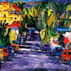 """Los Angeles Hollywood Side Street 1"" Oil on canvas"