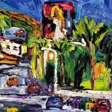 """Los Angeles Sunset Blvd."" Oil on canvas"