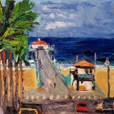 """Manhattan Beach Pier"" Oil on canvas"
