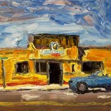 """""""Manhattan Beach Sharkeys"""" Oil on canvas"""