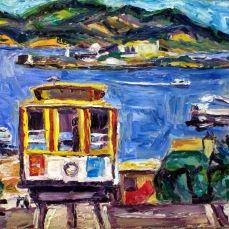 """San Francisco Cable Car"" Oil on canvas"