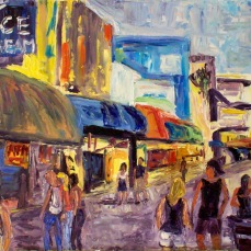 """Santa Monica Beach Strand"" Oil on canvas"